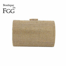 Graceful Women Gold Crystal Evening Clutches Bag Bridal Diaomnd Eveningbags Purse Wedding Party Dinner Handbags and Purses Bolsa(China)