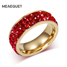 Meaeguet Red Shining Bright Full Paved Crystal Ring Gold-color Stainless Steel 3-Row Stone Wedding Rings For Women Wedding Band