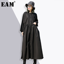 Buy EAM 2018 new spring sand collar sleeve solid color black waist fold split joint loose big size dress women fashion tide JE347 for $30.45 in AliExpress store