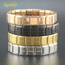 Hapiship 2018 Fashion Men Women's Jewelry 13mm Width Gold Silver Letter Stainless Steel 20 Links Bracelet Bangle For Friend G003(China)