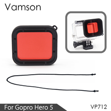 Vamson for Gopro Hero 6 5 Accessories Red Underwater Sea Water Diving UV Filter Lens Cover for GoPro Hero 6 5 Camera VP712(China)