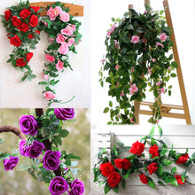 Artificial Fake Silk Rose Flower Ivy Vine Hanging Garland Wedding Decor 2017 New Arrival Wedding Decoration(China)
