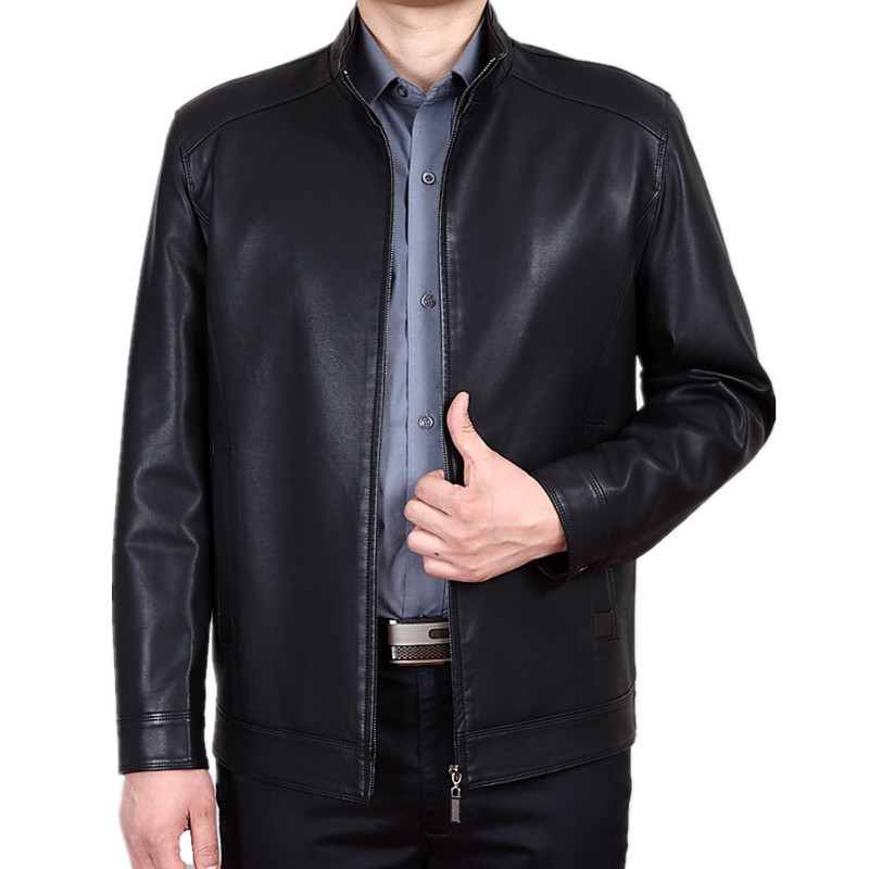 Plus Size 4XL Black Stand Collar Men's Leather Jacket Middle-age Mens Winter Leather Jackets Pu Leather Jacket Men Coat FYY182