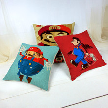Car-covers Store Super Mario Cushions Linen Cushion Cover Lovely Character 45*45cm Square Throw Pillow For Living Room Bed Room(China)