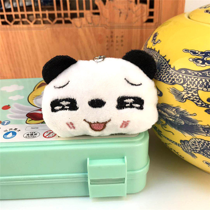 Fashion Panda Emoji Plush Toys Key Chain Ring Pom Bear Keychain Woman Bag Charms Man Car Keyring Wedding Party Trinket Jewelry (27)