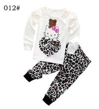 New clothing set toddler baby boy hello kitty clothing sets 2piece outfits cartoon print t-shirt and pants cute boy girls pajama