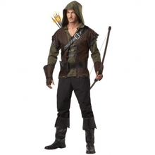 Free Shipping Mens Robin Hood Thieves Medieval Warrior Fancy Dress Adult Costume Inclu hoodie pant belt and bootcover 565(China)