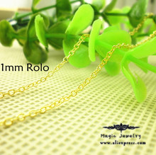 LOSE MONEY ITEM Bulk 18inch 1mm Thin yellow Plated Rolo/Rollo Chain Necklace fashion lot Lobster Clasp 20pcs/lot Wholesale