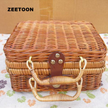 Bamboo Vintage Rattan Portable Outdoor Travel Handmade Tea Set Storage Box Teacup Food Package Picnic Cosmetic Case Toy Hand Bag