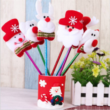 24pcs/lot Cute Christmas Snowman Santa Claus Ballpoint Pen 0.7mm Bear Blue Roll Ball pen Office School Supplies Christmas Gift