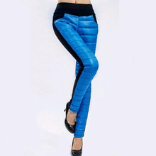 2017 Winter Women Leggings 6 Candy Colors Winter Down Pants Warm Plus Size Trousers Thick Thermal Velvet Outer Wear Legging(China)