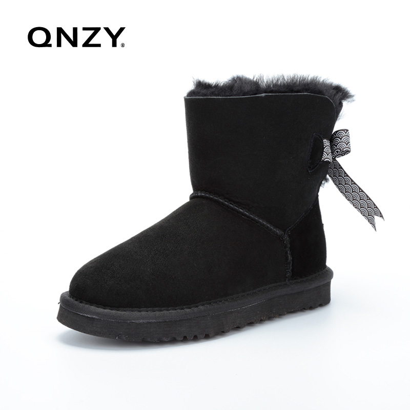 QNZY Australia 100%natural sheep fur snow boots women short boots/winter warm flat bottomed large boots/lace-up/free shipping(China (Mainland))