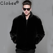 Hot sale new winter men luxurious faux mink coat Black fashion casual rabbit fur overcoat Stand collar leather jackets Plus size