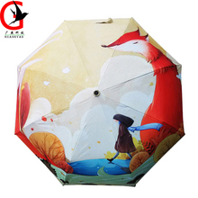 High-grade creative 3 folding student Painting umbrella boys girls oil painting umbrella Anti-UV umbrella animal of fox  TQ-40