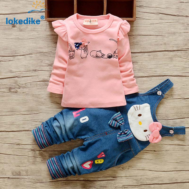 Korean Style Childrens Clothing Set 2017  Autumn Spring Girls Clothes Cartoon  Kitty  Kids Clothes 2pcs T-shirt Overalls T2767<br><br>Aliexpress