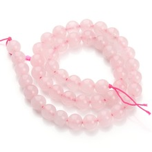 Pink Quartz Crystal Beaded Natural Stone Power Crystal Round Loose Beads Pack Multi Size For Bracelet Making Jewelry Findings