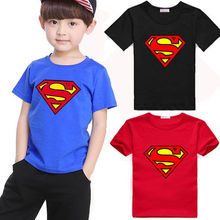 2016 Summer Baby Kids Boys Superman Short Sleeve T-shirt Cotton Tops Clothes 2-7 Y