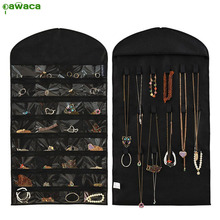 Pawaca Hanging Storage Bag Double Sided Jewelry Display Holder 32 Pockets Sorting Bags Home Door Wall Hanging Closet Organizer(China)