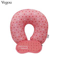 Vegou Pink Love Hearts U Shaped Pillow Eye Mask Set Car Head Neck Rest Air Cushion Microbeads Filling Health Cervical Pillow(China)