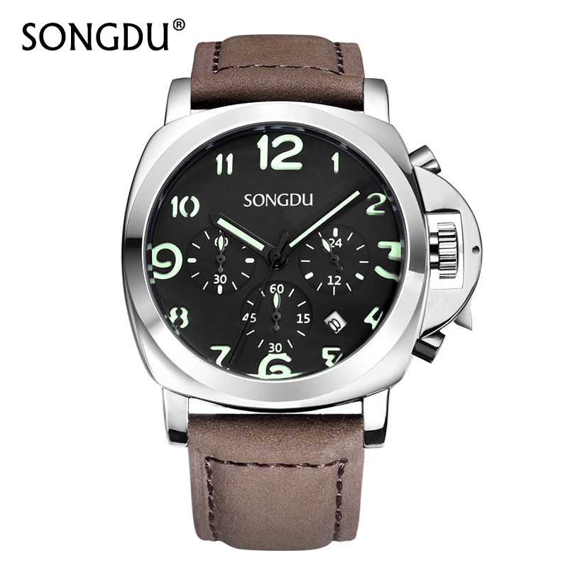 SONGDU Men Chronograph Watches Date Male Clock Luminous Arabic Numeral Genuine Leather Strap Waterproof Quartz Watch Hot Sale <br>