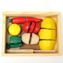 Hot 1 Set Popular Play Kid Pretend Play Kitchen Wooden Food Fruit Vegetable Cutting Educational Toy Box Gifts 2016
