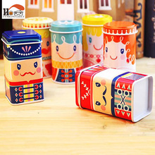 CUSHAWFAMIL cute happy kingdom Tea caddy receive box candy storage box wedding favor tin box cable organizer container household(China)