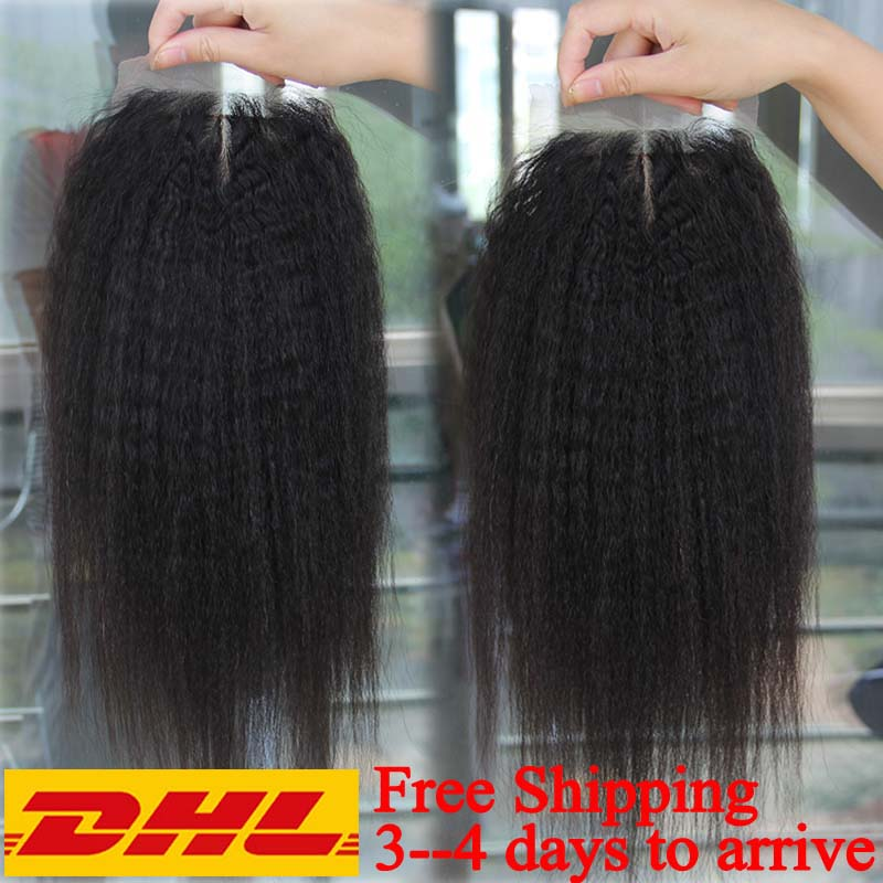 7A Cheap 4*4 Lace Closure Virgin Mongolian Kinky Straight Closure Bleached Knot 3 Part afro kinky Closure fast free shipping<br><br>Aliexpress
