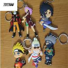 YNYNOO Buy 6 get 1 free Naruto anime cartoon figures Kakashi Sasuke action & toy figures pendant Key Chains Collection model toy(China)