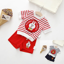 Rabbit Teddy Bear Pony Cartoon Striped 2PCS Set For Boys Girls Brother&Sister Children Clothing  2pcs Family Suit Knit Cotton