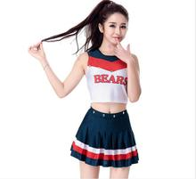 Ladies Football basketball Costume Fancy Dress Up blue Cheerleader Dresses glee cheerleader costume with sock S-XXL