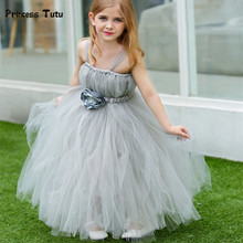 Handmade Children Girls Tutu Dress Gray Mesh Tulle Flower Girl Dresses Princess Costumes Kids Girls Party Pageant Wedding Dress