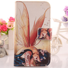 LINGWUZHE Cartoon Cell Phone Protector Flip PU Leather Case For Alcatel Pixi First Dual Sim 4 4024D