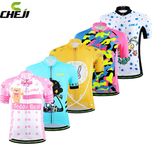 Cheji Kids Cycling Jersey Summer Children Bicycle Clothes Lovely Clothing  High Quality Bike Clothing Boys Girls Sport Jersey