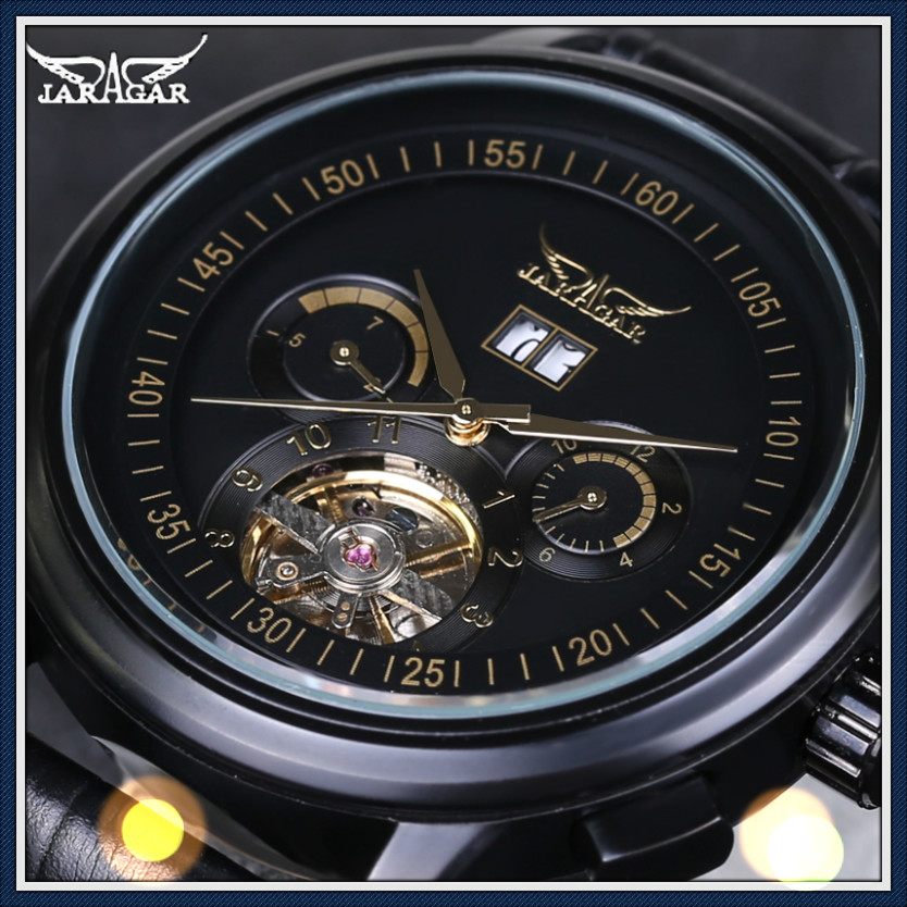 JARAGAR Men Automatic Mechanical Wrist Watches Stainless Steel Large Dial Tourbillon Watch Male Atmos Clock<br>