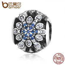 BAMOER Classic Original 925 Sterling Silver Blue Crystals Charm Fit Bracelet Jewelry Wedding Gift PAS249(China)