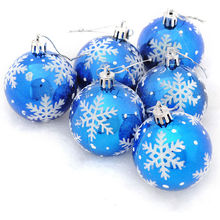 6Pcs Snow Flake Print Tree Hanging Baubles Christmas Tree Ball Decoration Xmas Balls New Year Gift Supplies Dia 6cm 4 Colors