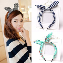 1PC Fashion Women Girls Bow Hair Hoop Lovely Dots/Stripe/Floral/Leopard Rabbit Ears Hairbands Hair Accessories(China)