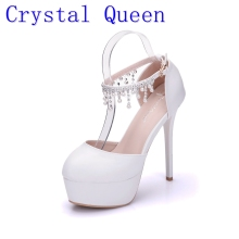 Buy Crystal Queen Woman White Wedding Shoes High Heel Round Toe Platform Ankle Pumps Bridal Shoes Prom Dress Shoes Pearls rhinestone for $26.98 in AliExpress store