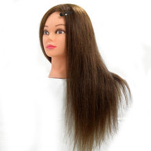 "22"" 90% Real Animal Hair Training Head Mannequin Brown Hairdressing Models With Table Clamp(China)"