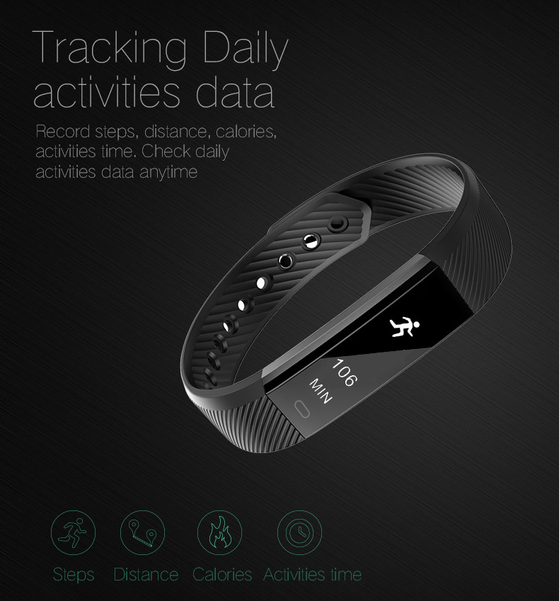 Hold Mi Smart Band ID115 HR Bluetooth Wristband Heart Rate Monitor Fitness Tracker Pedometer Bracelet For Phone 12
