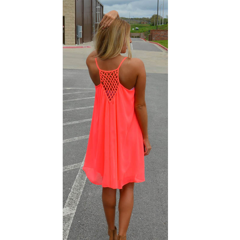 Vestidos 2017 New Spaghetti Strap Beach Dress Sleeveless Fluorescence summer dress Chiffon Casual Loose female Short Dress 14