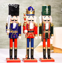 1pc 38cm Wood Crafts Soldier Wood Nutcracker Soldier Ornament For Home Decoration Gift E449(China)