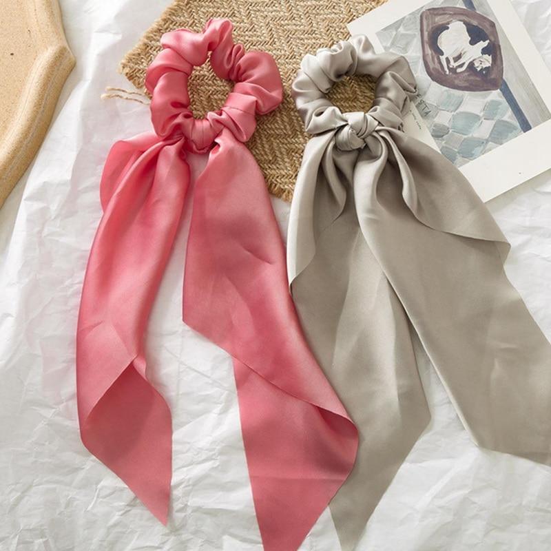 Trendy Women Solid Satin Hair Band Scrunchie Elastic Hair Gum Bow Scarf Accessories