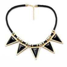 Green Blue Black Color Fashion Knitted Chain Triangle Gem Tassel Chokers Statement Sweater Necklace VN245