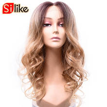Silike 26 inch Long Wavy Synthetic Lace Frontal Wig Blonde Ombre Dark Root Low Temperature Fiber Brazilian Hair 220G/PC