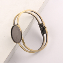 reidgaller 1pcs brass cuff bracelet cabochon base settings 25mm inner size metal bangle blanks diy components for jewelry making