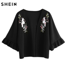 SHEIN Crane Embroidered Trumpet Sleeve Kimono Woman Tops Summer Boho Style Black Three Quarter Length Sleeve Kimono(China)