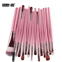 MAANGE Brand 15pcs/Sets Professional Woman Beauty Eye Shadow Foundation Eyebrow Lip Brush Makeup Brushes Tool PK maquiagem USA