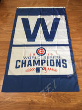 2016 world series Chicago Cubs W logo vertical flag by 3x5ft digital printed with 2pcs gromments