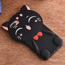 For iPhone 7 7Plus 6 6s Plus NEW Popular Chinese 3D Maneki Funny Cute lucky Smile cat lady Soft Rubber Silicone Phone Case Cover(China)